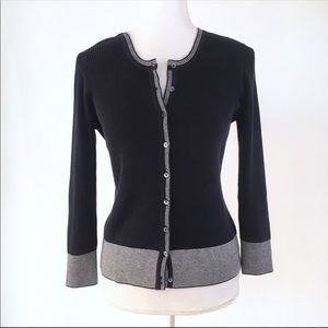 Margaret O'Leary navy ribbed white trim cardigan L